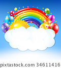 Happy Birthday Banner With Rainbow 34611416