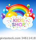Happy Birthday Banner With Rainbow 34611418