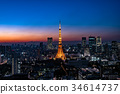 The cityscape of central Tokyo and the night view of Tokyo Tower 34614737