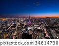 东京市中心的城市景观和东京铁塔的夜景 34614738