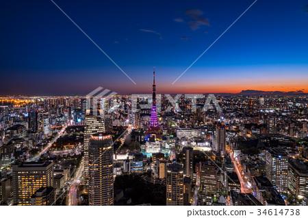 도쿄 도심의 도시 풍경과 도쿄 타워의 야경 34614738