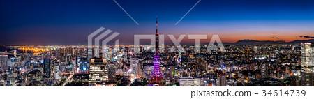 中央东京都市风景和东京铁塔高分辨率夜视图 34614739