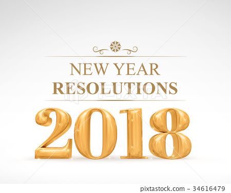 Golden color 2018 new year resolutions 34616479