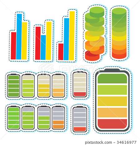 Sticker set with different levels of bars 34616977