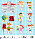 Sticker set with students and school 34616981