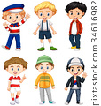 Six boys in different costume 34616982