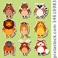 Sticker design with wild animals 34616983