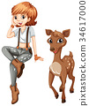 Cute girl and little fawn 34617000
