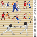 Sticker set with people playing sports 34617003