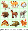 Sticker design for many animals 34617006