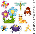 Sticker set with flowers and bugs 34617012