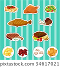 Sticker set with different types of food 34617021