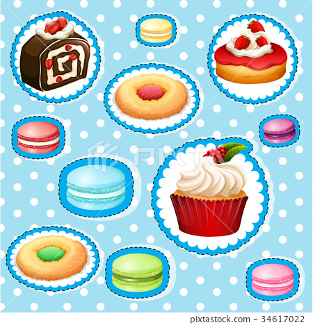 Sticker set with different types of desserts 34617022