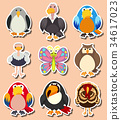 Sticker design with different kinds of birds 34617023