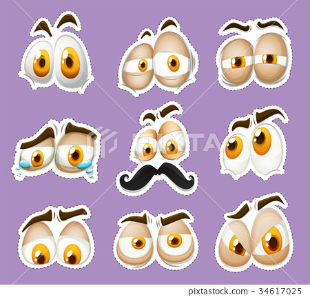 Sticker design with facial expressions 34617025