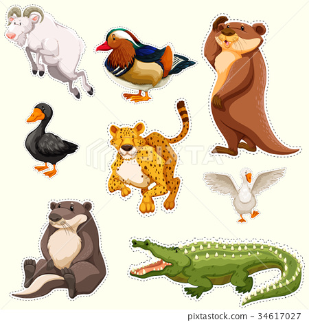 Sticker set with different creatures 34617027