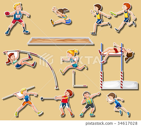 Sticker design for track and field sports 34617028
