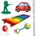 Sticker set with different toys 34617032