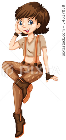 Girl teenager in brown outfit 34617039