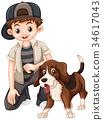 Boy and beagle dog 34617043
