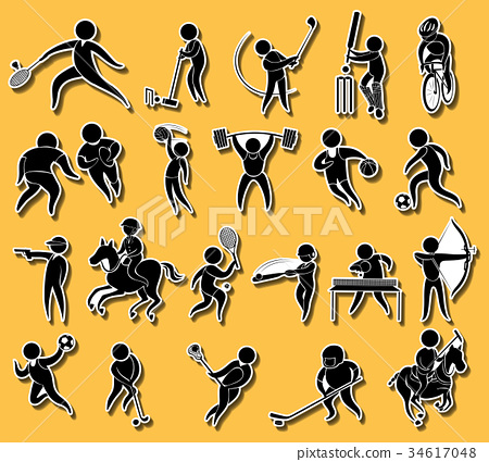 Sticker set with sport icons 34617048
