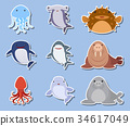 Sticker set with sea animals on blue background 34617049