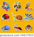 Sticker set with many insects on yellow background 34617055