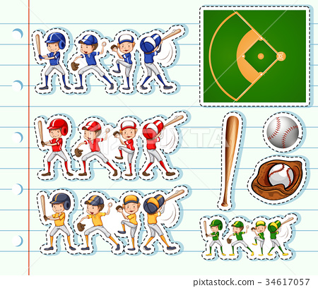Sticker design for baseball players and field 34617057