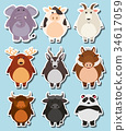Sticker set with many wildlife on blue background 34617059
