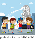 Four kids at the merlion in Singapore 34617061