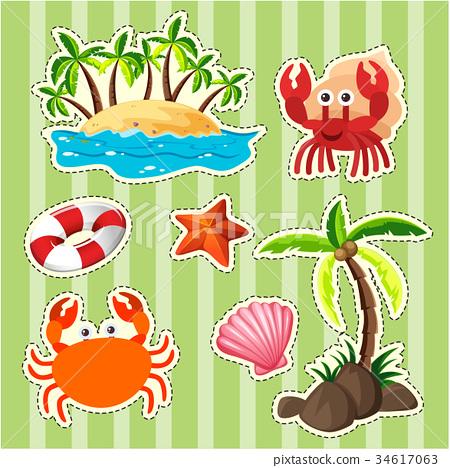 Sticker design island and sea animals 34617063