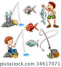 Sticker design for people fishing 34617071