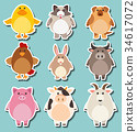 Sticker design for cute farm animals 34617072