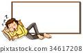 Board template with man sleeping 34617208