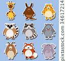 Sticker set with many animals on blue 34617214