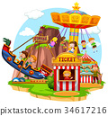 Happy children riding in funpark 34617216