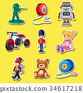 Sticker set with toys on yellow background 34617218