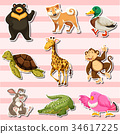 Sticker set with wild animals on pink background 34617225