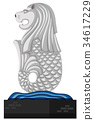 Statue of merlion on white background 34617229