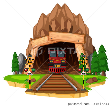 Train ride on the track through tunnel 34617233