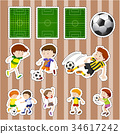 Sticker design for soccer players and fields 34617242
