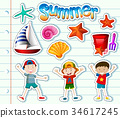 Sticker set with kids and summer items 34617245