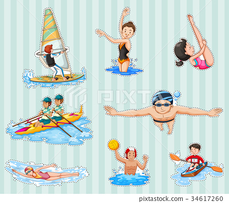 Sticker set with athletes doing sports 34617260