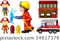 Firefighters and fire station 34617376
