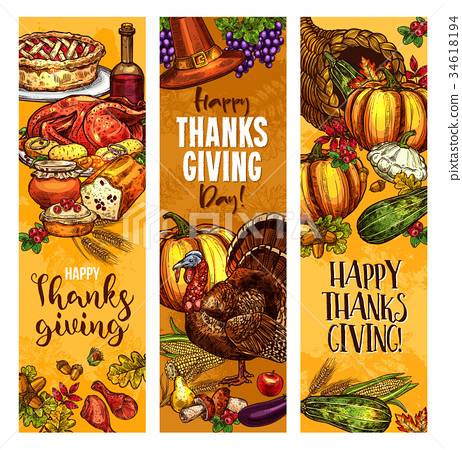 Thanksgiving day sketch vector greeting banners 34618194