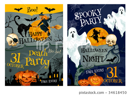 Halloween party poster of pumpkin, ghost and which 34618450
