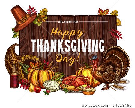 Thanksgiving turkey harvest vector sketch greeting 34618460