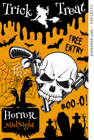 Halloween trick or treat night party poster design 34618531
