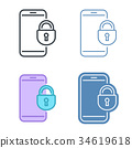 Mobile phone with lock vector outline icon set. 34619618
