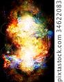Light merkaba and zodiac in cosmic space. 34622083